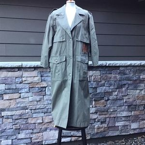 Vintage cotton trench coat, leather under collar